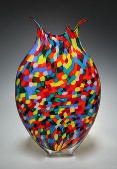 "Mosaic Foglio II by David Patchen (Art Glass Sculpture) (18"" x 11"")"