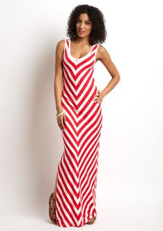 V-Neck Stripe Maxi Dress