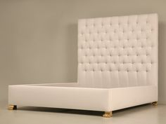 Handmade Upholstered King Size Bed with Bronze Feet