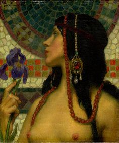 Grapefruit Moon Gallery: Art Nouveau Nude With Purple Iris [detail] - Charles Allen Winter (1869-1942)