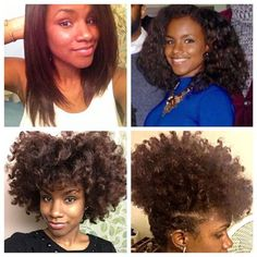 @highmane10ance Top left: Relaxed August 2013 | Top right: Texlaxed February 2014 | Bottom left: Transitioning February 2015 | Bottom right: Natural June 2015 | Loving each and every phase of this journey #hair2mesmerize #naturalhair #healthyhair