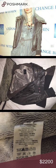 S.w.o.r.d 6.6.44 most comfortable leather jacket This jacket was from the 2013 collection S.W.O.R.D 6.6.44 - originally bought from Fred Segal in Los Angeles - this jacket is 100% genuine leather, very soft polyester lining- the Fur collar is lamb shearling- it is the most comfortable jacket I have owned and very soft on the inside and outside. Only been worn about 3-4 times including a red carpet event pictured above- has two zipped pockets - collar is removable - size is large but Italian…