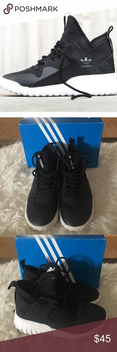 Adidas tubular sneakers Boys size 4.5 fits women's size 6. Used great condition. No box Adidas Shoes Sneakers