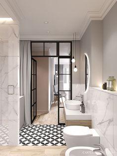Bathroom with Crittall style black framed internal door