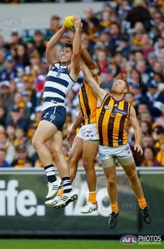 Tomahawk marks in front of a couple of Hawks round 5 2014....AFL Media Image Preview