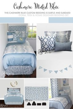 Blue And Yellow Dorm Room Bedding Inspired By Anthropologie Decorate A Do College Essentials Decor