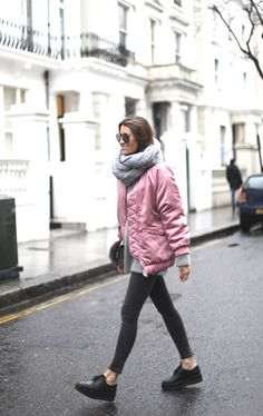 Pastel pink is this season's colour and big oversized bombers is this season's trend: a match made in heaven!!
