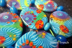 jasmin french ' thaw ' lampwork beads set ooak by jasminfrench