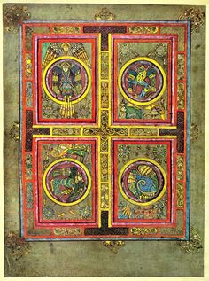 The Four Evangelists, Folio 129 verso from the BOOK OF KELLS circa 800 a.d. (Irish: Leabhar Cheanannais) © Trinity College Library, Dublin, Ireland. More on this illuminated Gospel manuscript: http://en.wikipedia.org/wiki/Book_of_Kells More on the library: http://en.wikipedia.org/wiki/Trinity_College_Library Photo edited to show detail. See original at link. - pfb