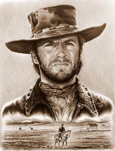 Clint Eastwood Drawing - Clint Eastwood The Stranger by Andrew Read                                                                                                                                                                                 More