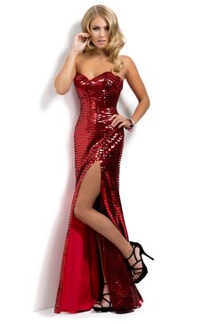 Hot red sequin prom dress 2014