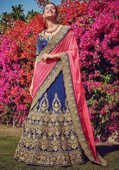 Elegant Navy Blue and Pink Lehenga Saree