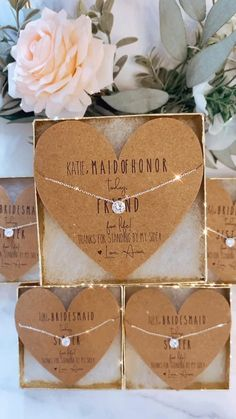 OBSESSED! The perfect dainty bridesmaid necklaces! Personalized cards, box and ribbon included!