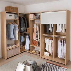 [리바트이즈마인]뉴 프렌즈 드레스룸 ㄱ자 2750x1550(1문 블라인드) - 11번가 Muji House, Home Studio, Minimalist Bedroom, Studio Apartment, Closets, Furniture Design, Shelf, Interior Decorating, Sweet Home