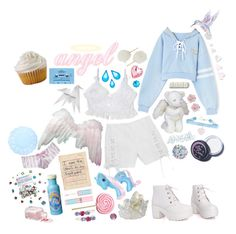 """""""Angel Cake"""" by voidberry ❤ liked on Polyvore featuring Alexis Smith, Maybelline, My Little Pony, Palm Beach Jewelry, Hermès, CASSETTE and Lime Crime"""