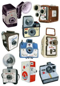 Vintage Camera Drawings, from Christine Berrie
