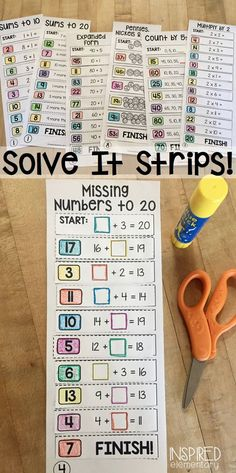 Solve It Strips are a FUN, low-prep, HANDS-ON math center that engage students in mental math! Various sets available so you can keep this as a math center all year long!