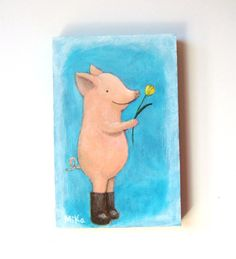 ORIGINAL Painting Pig Love Illustration Flower Gift by mikaart, $29.99