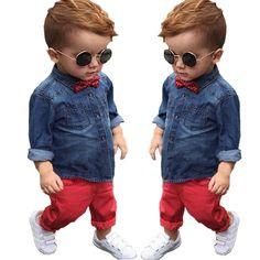 Aliexpress.com: Comprar ST245 2016 Primavera ropa para niños Set niños bebés ropa de algodón de manga larga camisetas + pantalones de mezclilla ocasional niños rojos ropa de paquete de ropa fiable proveedores en Susan Lin's store