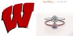 The delicate Abby solitaire engagement ring advances along with the Wisconsin Badgers in the #MarchMadnessBracket