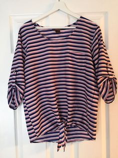JUNIPER LU Striped Tie Front Polyester Bottom Sleeve Blouse Womens M #JuniperLu #Blouse