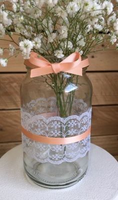 10 x Glass Jars - Vases - Vintage - Wedding Centrepiece Hessian Lace Peach Pink