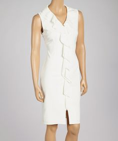 Look at this Samuel Dong White Ruffle V-Neck Dress on #zulily today!