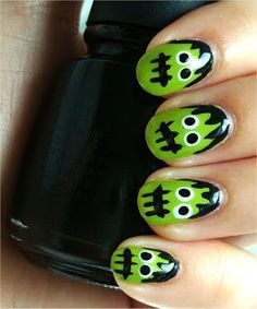 :Halloween Frankenstein Fingernails visit link to follow easy step by step instructions. Visit @ashersocrates for the Worlds Best Nail Artist and Salons.