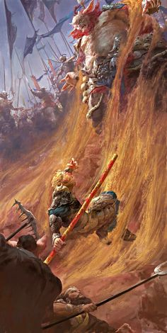 Chinese digital painter, Fenghua Zhong (钟风华) creates incredibly detailed illustrations of The Monkey King, Sun Wukong in action. Sci Fi Fantasy, Fantasy World, Beast Creature, Journey To The West, Monkey King, Post Apocalypse, Fantasy Artwork, Cg Artwork, Fantasy Landscape