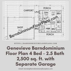 $595. Blaze Floor Plan 4 Bed – 2.5 Bath – 2,500 sq. ft.– with Half Bath off Shop. We sell semi-custom Barndominium floor plans and provide helpful tips to design and build your home whether it is DIY or you are paying a company. #architecture #barndominiums #home #modernbarn #barnhomefloorplans #beautifulbarn #homefloorplan #barnhomedesign #housedesign #barndominiumfloorplans #floorplan #dreambarn #barnhouse #barndominiumliving #carport #barndominiumdesign #barndominiumdesign #barn #garage