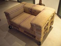 Pallet Armchair.  Made from pallets and upholstered with grain sacks (my take on the Sillón Johnston).