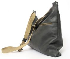 Gray leather shoulder bag can be carry crossbody, as well can be carry as purse (without shoulder strap), crafted in rich soft premium italian quality
