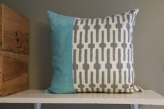 grey and aqua pillow cover // color block pillow by FightingforJoy, $36.00