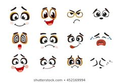 Vector icons of smiley faces Cartoon Faces Expressions, Funny Cartoon Faces, Cute Eyes, Rock Painting Designs, Cute Doodles, Skull Tattoos, Smiley Faces, Vector Icons, Royalty Free Photos
