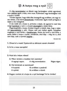 MESÉLŐ SZÖVEGÉRTÉSI MUNKAFÜZET 2. OSZTÁLY - tanitoikincseim.lapunk.hu Home Learning, Worksheets For Kids, Projects For Kids, Grammar, Preschool, Classroom, Teaching, Writing, Motivation