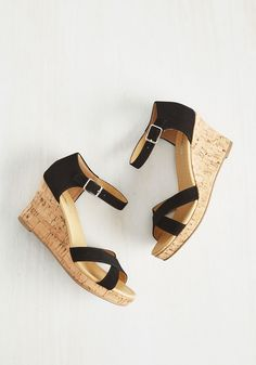 Panache Appreciation Wedge in Black. You feel that the best way to admire fine design is to flaunt it, which is why these cork-inspired wedges are such a staple in your wardrobe! #black #modcloth
