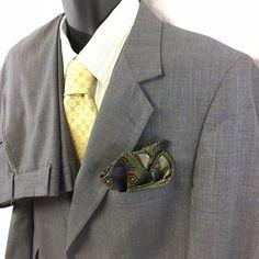 2PC Regency Park Bell's Mens Suit Gray Multi Windowpane 2 Button Size 44PS USA #RegencyPark #TwoButton