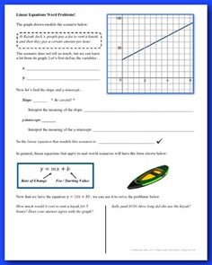 * Download the preview for details! ** This is part of my Linear Equations UnitThis 2-day lesson includes 6 pages of guided notes and two 2-page assignments.Students learn how to solve linear equation word problems in the order below. They will: - Learn how to interpret the slope and y-intercept of a linear equation in a real-world context- Practice interpreting graphs that model real-world scenarios- Learn how to build linear equations in order to answer various questions On day two, they…