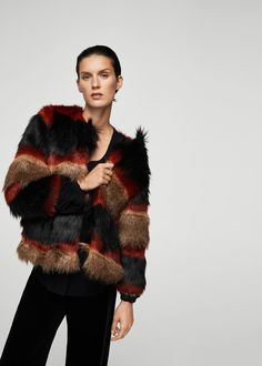 Striped faux-fur coat - Women | MANGO USA
