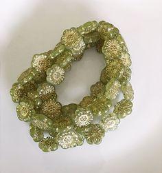 NEW Green Pressed Flower Czech Glass Beads Green Gold Picasso Flower Beads Czech Beads Czech Flower Beads 18mm (2 pcs) 9V1
