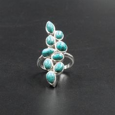 Blue Turquoise Sterling Silver Long Ring, Handmade with Turquoise Howlite Gemstones Designer Ring Gift for Her, Turquoise Jewelry