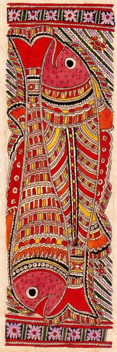 Madhubani or Mithila Paintings are said to have originated during the period of Ramayana, when King Janaka commissioned artists to do paintings during the wedding of his daughter, Sita to Lord Ram. The paintings usually depicted nature and Hindu religious motifs, the themes generally revolve around Hindu deities.http://handicrafts.exoticabazaar.com/view/4844-7-fish120.html