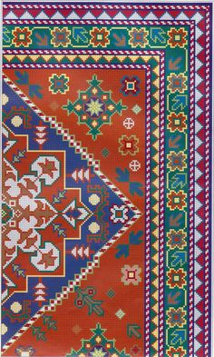 Bordar, Tejer y Algo Mas...: Alfombras y Cojines Needlepoint Patterns, Cross Patterns, Counted Cross Stitch Patterns, Cross Stitch Embroidery, Graph Design, Chart Design, Persian Pattern, Cross Stitch Love, Tapestry Crochet