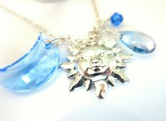 Sterling Silver Sun and Swarovski Blue Moon Charm by KBlossoms, $55.00