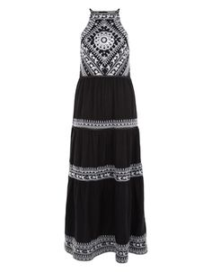 Crafted from pure cotton, our Hope tiered maxi dress is ornamented with an embroidered bodice with mirrorwork embellishments, and panels down the skirt. This warm weather style has a flattering high neckline and defined waist seam, as well as a keyhole button detail on the back.  Model wears UK 8/UK S/EU 36/US 4. Model height is 175 cm/5'9.
