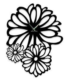 Black Flower Modern Designer  wall clock Wall designer watches Wall by ModernWallClock
