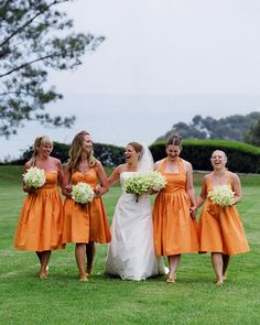 Orange bridesmaids dresses. Thinking about burnt orange plum purple and green for a fall wedding was originally plum purple gray and green