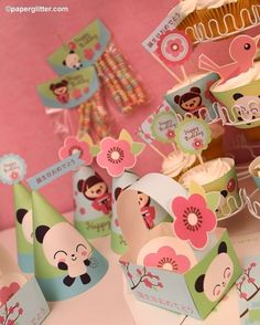 Panda Cherry Blossom Japanese Kawaii Love Birthday Party Kit-Printable PDF Complete Set 0006. $10.00, via Etsy.