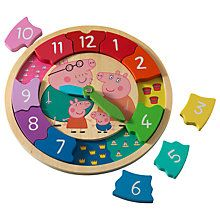Enhances problem solving skills whilst also developing number and time recognition What time is it? Find out with this colourful Peppa Pig Wooden! It has movable hour and minute hands and 12 shaped number pieces to count, sort and place. Travel Toys For Toddlers, George Pig, Wooden Clock, Problem Solving Skills, Peppa Pig, Toddler Toys, Xmas Gifts, Birthday Party Decorations, Kids Learning