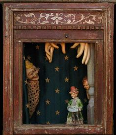 Old Marionette theater - Dennis Herbert Found Object Art, Found Art, Arte Assemblage, Shadow Box Art, Marionette, Collage Art Mixed Media, Arte Popular, Altered Art, Altered Tins